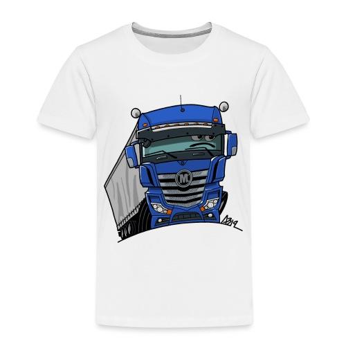 0807 M truck blauw trailer - Kinderen Premium T-shirt
