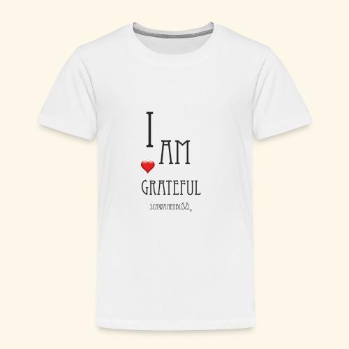 T Shirt Druck Schwanenbussi I am grateful schwarz - Kinder Premium T-Shirt
