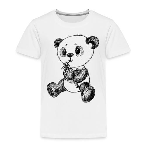 Panda Karhu musta scribblesirii - Lasten premium t-paita