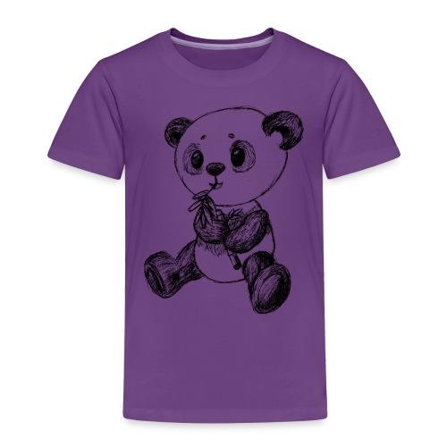 Panda bjørn sort scribblesirii - Børne premium T-shirt