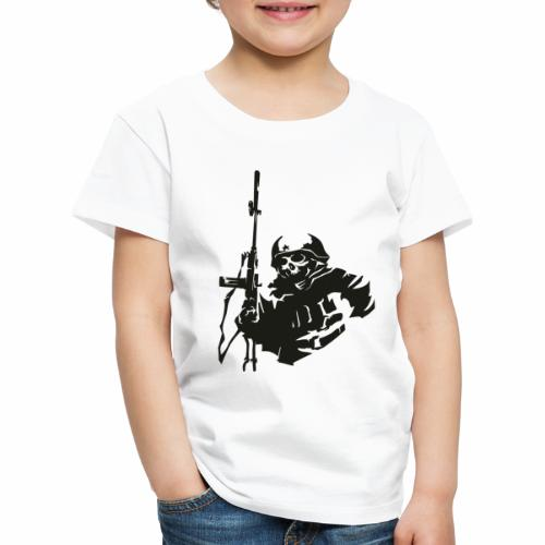 Soldier rifle helmet war World War II gear military - Kids' Premium T-Shirt
