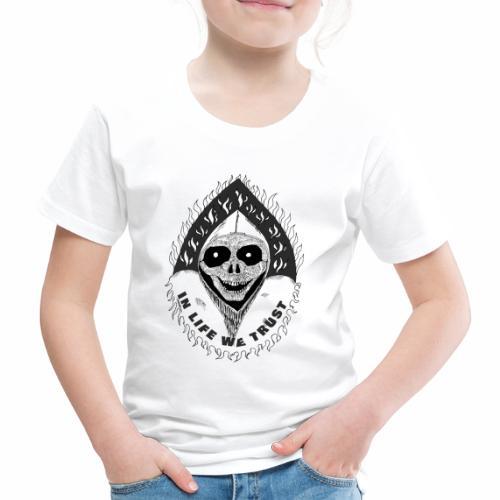 Grimp reaper with text IN LIFE WE TRUST b&w - T-shirt Premium Enfant