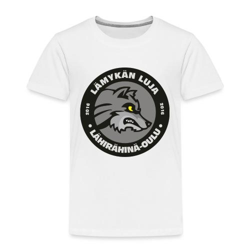 Lämykän Luja, uusi logo värikäs - Lasten premium t-paita