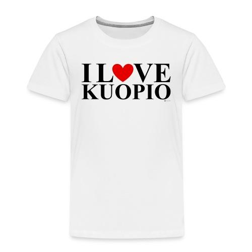 I LOVE KUOPIO (koko teksti, musta) - Lasten premium t-paita