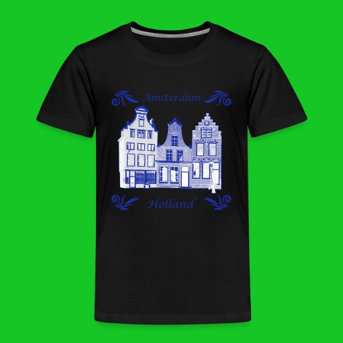 Holland Grachtenpanden Delfts Blauw - Kinderen Premium T-shirt