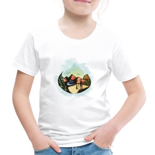 Hund Spaziergang Frauchen Herrchen Malerei - Kinder Premium T-Shirt