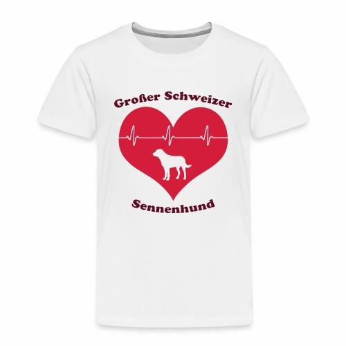 Großer Schweizer Sennenhund Herz und Schriftzug - Kinder Premium T-Shirt