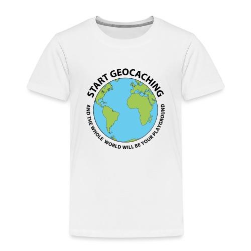 Start Geocaching - Lasten premium t-paita