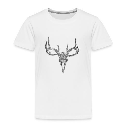 Deer skull with rose - Lasten premium t-paita