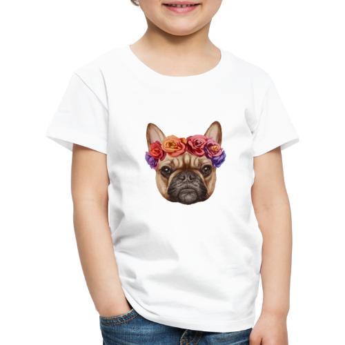 Buldog w Kwiatkach - Koszulka dziecięca Premium
