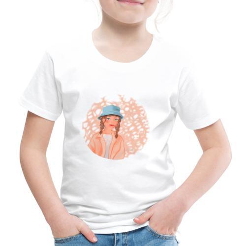 Vrolijk meisje met blauwe hoedje - T-shirt Premium Enfant