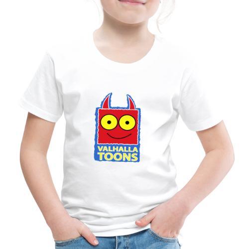 Valhalla Design 1 blue bg white stroke - Kids' Premium T-Shirt