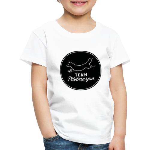 pilvimarjanlogomustaa - Lasten premium t-paita