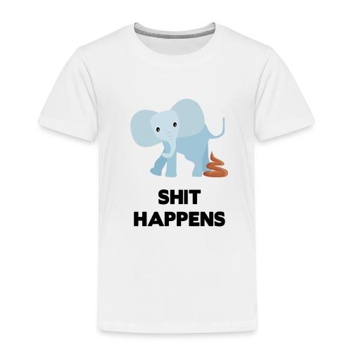 olifant met drol shit happens poep schaamte - Kinderen Premium T-shirt