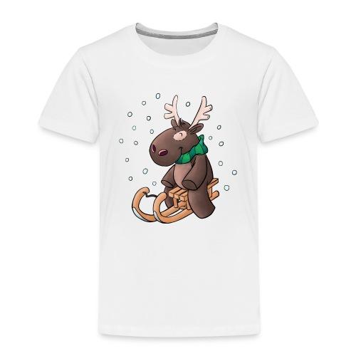 Elch - Kuschelelch mit Schlitten - Kinder Premium T-Shirt