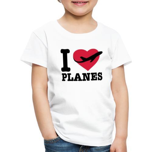 Rakastan lentokoneita - mustaa - Lasten premium t-paita