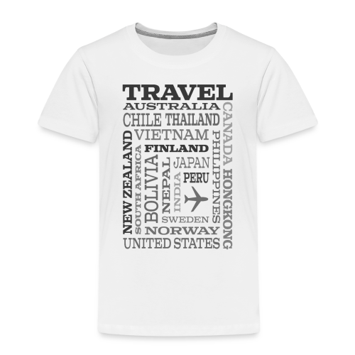 Travel Places Gray design - Lasten premium t-paita