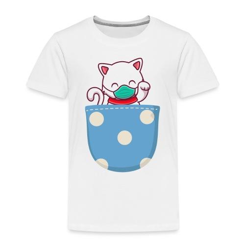 Gatito blanco en bolsillo de bolitas - Camiseta premium niño
