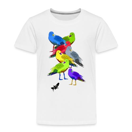 Seagulls by BlackenedMoonArts, with logo - Børne premium T-shirt