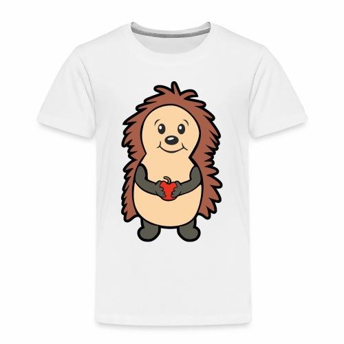 Igel mit Apfel in den Händen - Kinder Premium T-Shirt