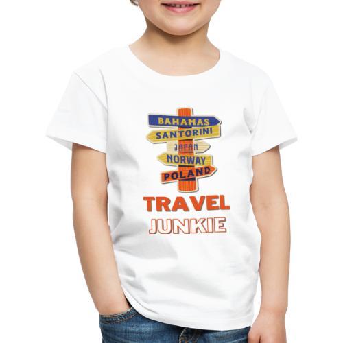 traveljunkie - i like to travel - Kinder Premium T-Shirt