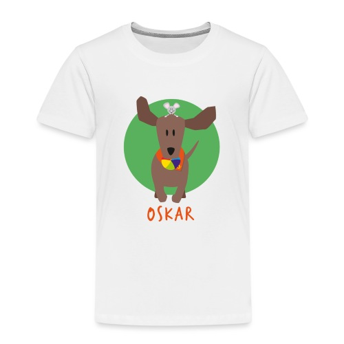 Dackel Oskar mit Maus Fridolin - Kinder Premium T-Shirt