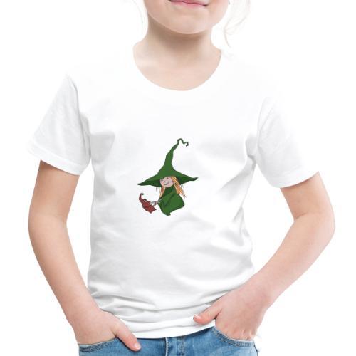 Green Witch sitting - Kinder Premium T-Shirt