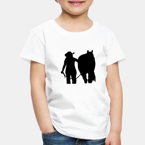 Westernreiterin mit Pferd individualisierbar - Kinder Premium T-Shirt