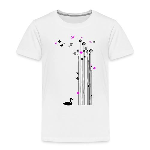 Frühling Schwan Blumen Schmetterlinge Swan - Kids' Premium T-Shirt