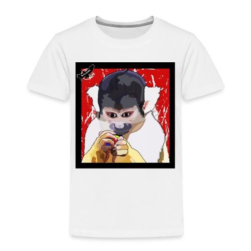 'Clever Monkey 2' by BlackenedMoonArts, w. logo - Børne premium T-shirt