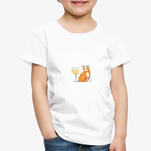 Yksin Viinillä Kissani V - Lasten premium t-paita