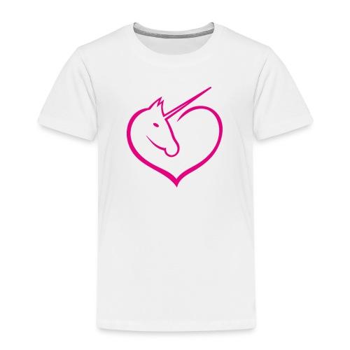 I love unicorns Pink Unicorn inside a heart - Camiseta premium niño