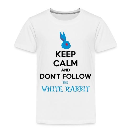 White Rabbit Keep Calm - Maglietta Premium per bambini