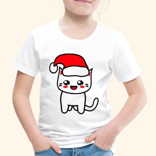 Kawaii Kitteh Christmashat - Kinder Premium T-Shirt