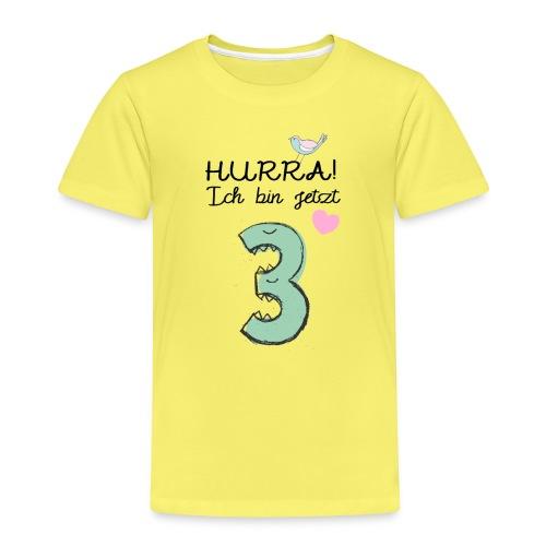 Hurra ich bin jetzt 3 / Geschenk zum 3. Geburtstag - Kinder Premium T-Shirt