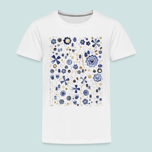 Indigo Flower Watercolour Mashup - Kids' Premium T-Shirt
