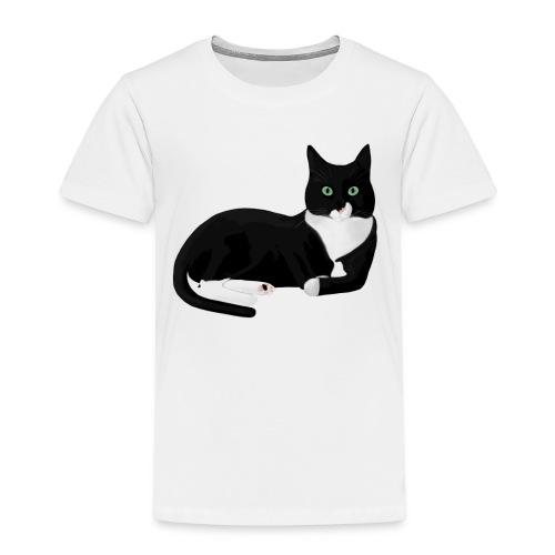 Black and White Cat - Kinderen Premium T-shirt
