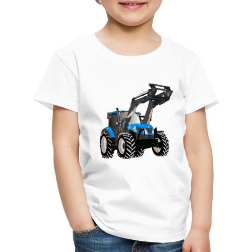 Blauer Traktor mit Frontlader - Kinder Premium T-Shirt