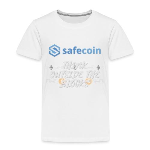 SafeCoin; Think Outside the Blocks (blue + white) - Kids' Premium T-Shirt