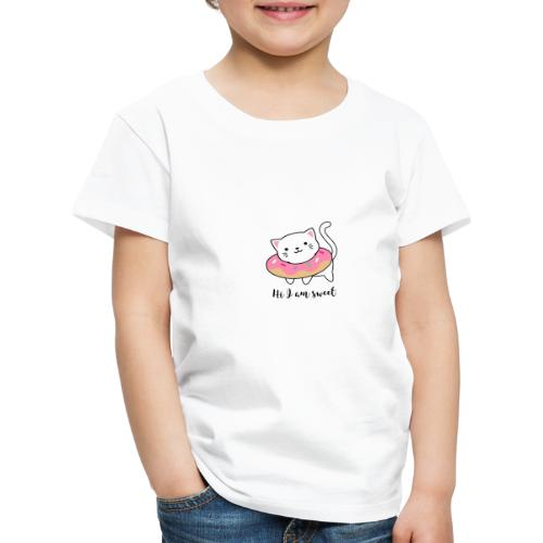 Süße Katze mit Donut - Kinder Premium T-Shirt