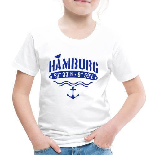 Hamburg Koordinaten Anker Möwe Längengrad - Kinder Premium T-Shirt