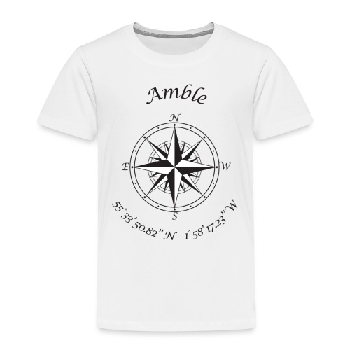 Amble, Northumberland Compass (black) - Kids' Premium T-Shirt
