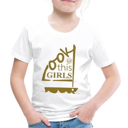 AndriesBik look thisGIRLS shirt witteletters - Kinderen Premium T-shirt