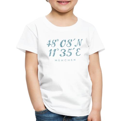 München Koordinaten (Vintage Hellblau) - Kinder Premium T-Shirt