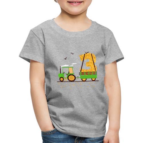 Traktor mit Anhänger 3. Geburtstag Geschenk Drei - Kinder Premium T-Shirt
