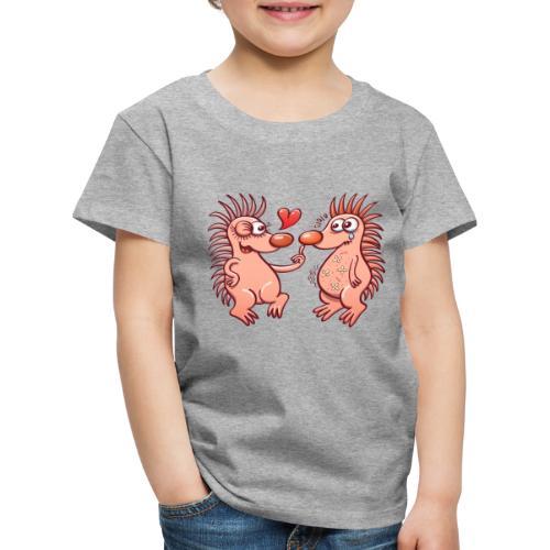 Bold hedgehogs playing dangerous love games - Kids' Premium T-Shirt