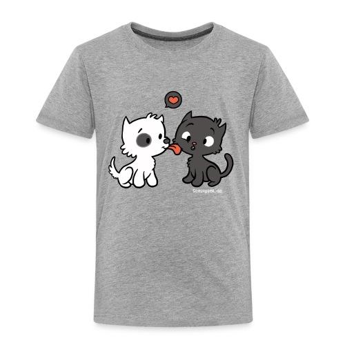 Hund liebt Katze - Kinder Premium T-Shirt