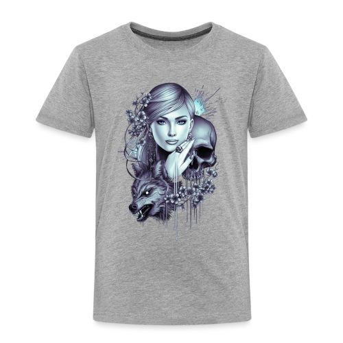 Wolf Skull Girl Tattoo - Kids' Premium T-Shirt