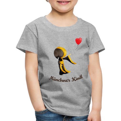 Münchner Kindl mit Herz-Luftballon und Text dunkel - Kinder Premium T-Shirt