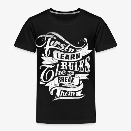 Ensin oppia säännöt - Lasten premium t-paita
